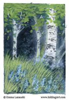 ACEO: Birch Trees by emla