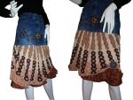 Upcycled Denim Jean Hippie Boho Style Skirt by Caraut