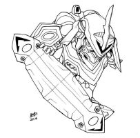 SD Nirvash type Zero lineart by Mintyrobo