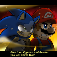 Mario and Sonic Battle by raygirl12