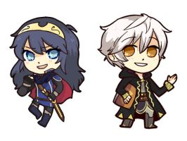 Lucina and Robin chibis!!! by AppleRiddles