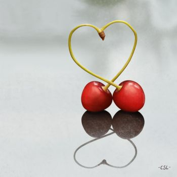 Realism Painting: Cherries by CarmenScholte