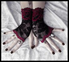 Acantha Lace Fingerless Gloves by ZenAndCoffee
