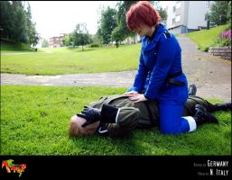 APH-cosplay: Fallen warrior by Kumagorochan