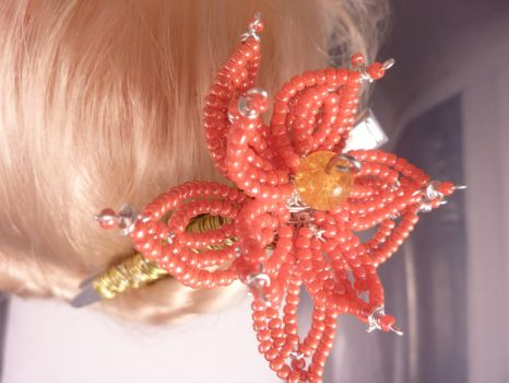Cora - French Beaded Lotus hair clip by hillarybewilson