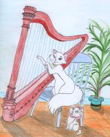 Marie's harp lesson by greydeer2010
