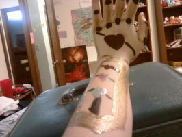 Acrylic Hand Armour - Glove - Golden Hearts by AliceLovesChes
