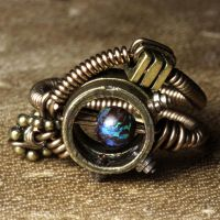 Steampunk Ring Blue Planet by CatherinetteRings