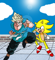 SS Goku vs Super Sonic by nightshadehedgehog