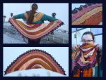 Exploration Station shawl - red and gold by KnitLizzy