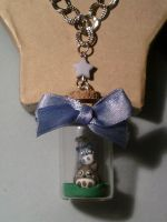 Necklace with a bottle 4 cm with Totoro fimo by bimbalove81