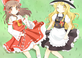 Reimu and Marisa by yanano