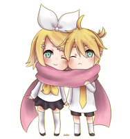 Chibi Rin and Len by oheka