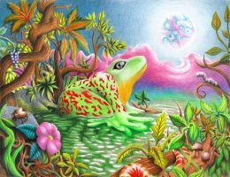 Psychedelic frog coloured pencils by Ariad-Arts
