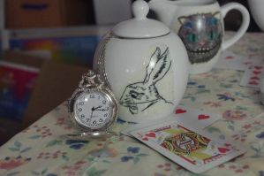 White Rabbit Sugar Pot by LucyLostInWonderland