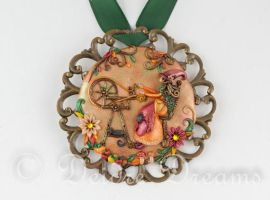 Meditating Witch Art Pendant by DeidreDreams