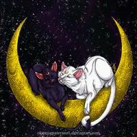 Moonlight Destiny - Luna and Artemis by OkamiAmaterasu1