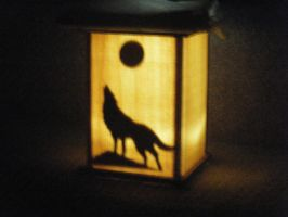 Wolf and Moon sconce by FireheartTheInferno