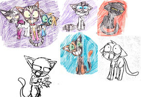Colored cat sketches by Catmaniac8x