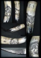 Carved Drinking Horn Vanaheim by Wodenswolf