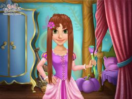 Rapunzel with long brown hair by Smurfette123