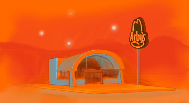 Lights Over the Night Vale Arby's by lrenhrda