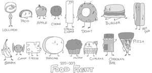 Food Fight Sketchies by AwesomecatmanYT