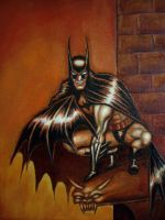 Batman (on gargoyle) by myconius
