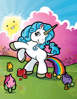 Unicorn Pooping A Rainbow by designfarmstudios