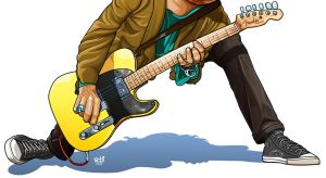 Close Up Playing Guitar Style Of Keith Richards by IborArt