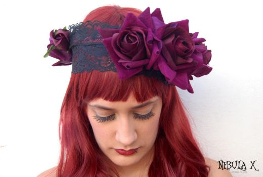 -:Purple Rose and Black Lace Headpiece:- by CarolineSuominen