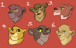 Lioness Point Adoptables - Set 2 {CLOSED} by AnimeFan4Eternity23