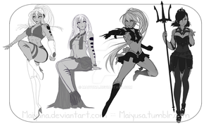 Sketch commission: Set 1 by Maiyuna
