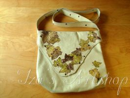 Cream leather bag with hand-painted leaves by izasartshop