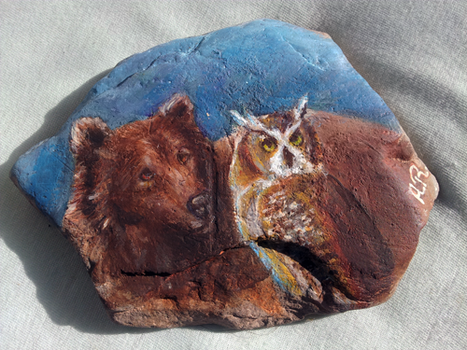Bear and Owl Stone Painting by QueerCoyote