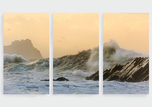 Triptych West Kerry Wave by cprmay