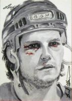 Bob Probert Red Wings leaf hockey sketch card by therealbradu