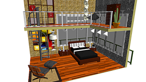 .::MMD Loft-like Bedroom Stage + DL::. by swiftcat-mooshi