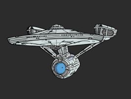 Constitution Class Sketch 2012 Re-Draw by wookieebasher