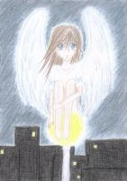 angel on a lamp post by Mitsuukii