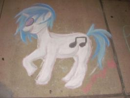Vinyl Scratch chalk drawing by SpirittigerRei