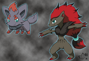 Zorua and Zoroark by pichu90