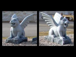 Pair of Feline Gargoyles by FantasyStock