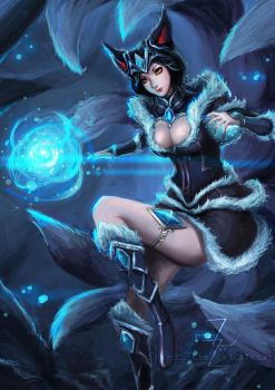 Ahri fanart (midnight) by AimedZ