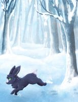 A bunny in a snowy wood by Pharaonenfuchs