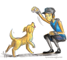 TF2: BLU Scout + Doggy by ky-nim