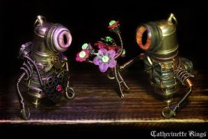 Steampunk Robot Minion Lovers by CatherinetteRings