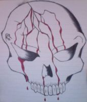 Bloody Skull (Inked) by Devious-Archangel