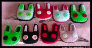 Plush Bunny Hair Clips by pookat