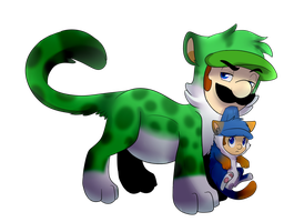 Cat weegie with luigi jr. by BaconBloodFire